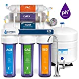 Express Water Alkaline Reverse Osmosis Filtration System - 10 Stage RO Mineralizing Water Filter - Mineral, pH + Antioxidant - Under Sink Water Filter with Remineralization - 100 GDP with Clear Housing